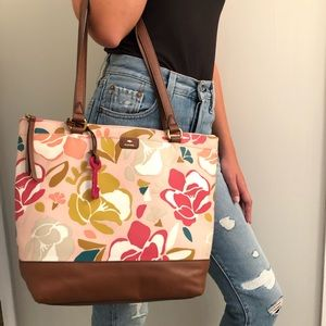 Fossil tote purse bag pink floral large